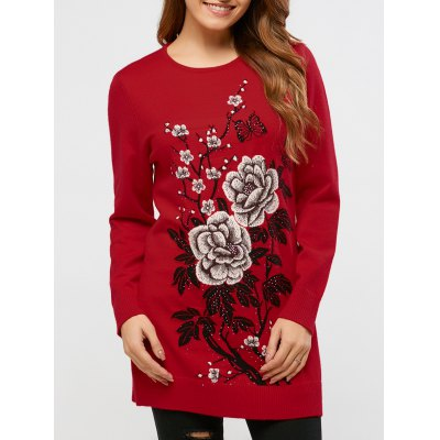 Rhinestoned Floral Sweater