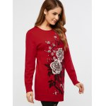 cheap Rhinestoned Floral Long Sweater