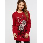 Rhinestoned Floral Long Sweater deal