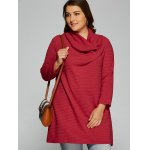 cheap Plus Size Cowl Neck Textured Blouse