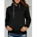 Chain Embellished Letter Print with Pocket Hoodie