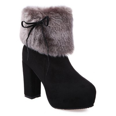 Chunky Heel Platform Faux Fur Suede Ankle Boots