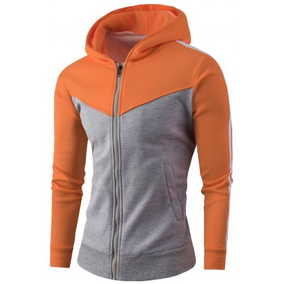 Zipper Up Color Block Striped Hoodie