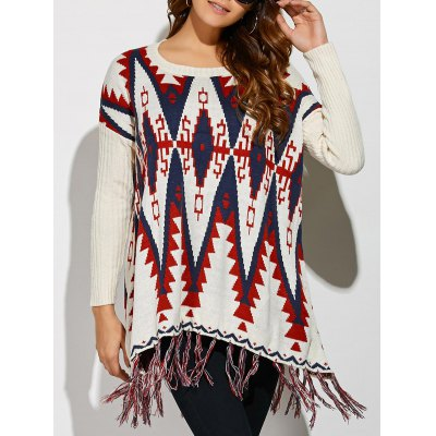 Geometrical Fringed Color Block Pullover Sweater