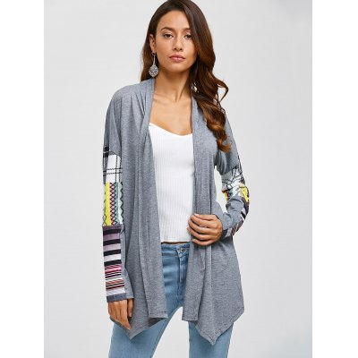 Printed Spliced Sleeve Asymmetric CardiganSweaters &amp; Cardigans<br>Printed Spliced Sleeve Asymmetric Cardigan<br><br>Type: Cardigans<br>Material: Cotton,Polyester<br>Sleeve Length: Full<br>Collar: Collarless<br>Style: Casual<br>Pattern Type: Patchwork<br>Season: Fall,Spring,Winter<br>Elasticity: Elastic<br>Weight: 0.470kg<br>Package Contents: 1 x Cardigan