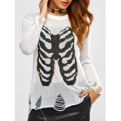 Halloween Frayed Bone Pattern Knitwear