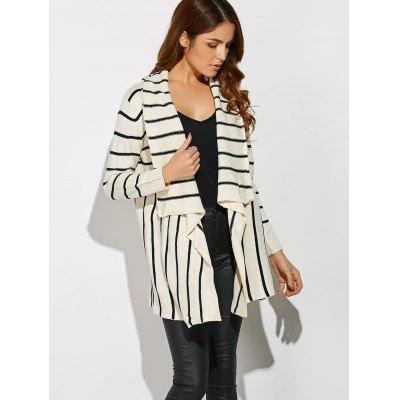 Striped Loose CardiganSweaters &amp; Cardigans<br>Striped Loose Cardigan<br><br>Type: Cardigans<br>Material: Polyester<br>Sleeve Length: Full<br>Collar: Collarless<br>Style: Formal<br>Pattern Type: Striped<br>Season: Fall,Spring,Winter<br>Weight: 0.470kg<br>Package Contents: 1 x Cardigan