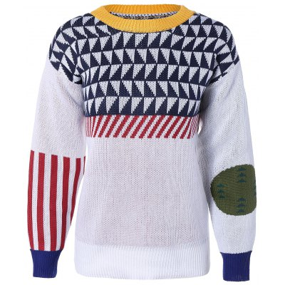 Color Block Jacquard Pullover Sweater