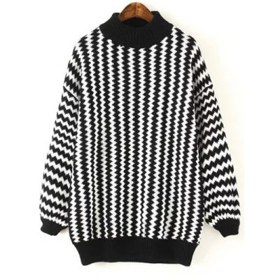 Dolman Sleeve Zigzag Jumper Sweater