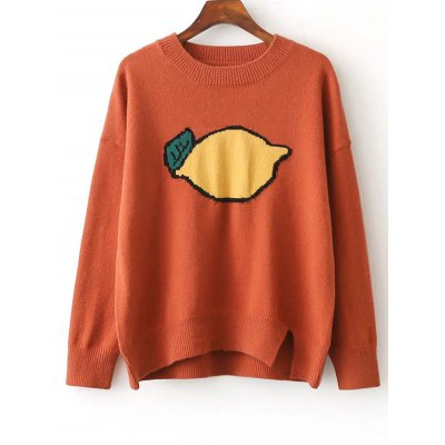 Split Fruit Print Jumper Sweater