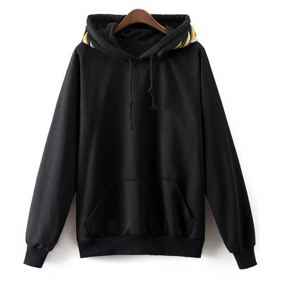 Front Pocket Drawstring Embroidered Hoodie
