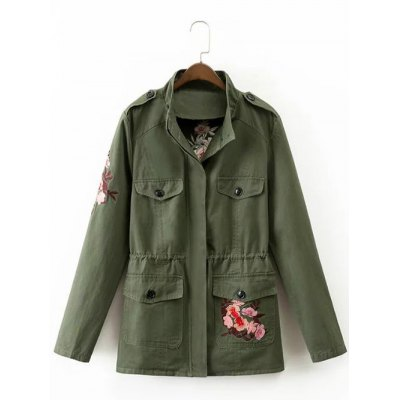 Drawstring Floral Embroidered Field Jacket