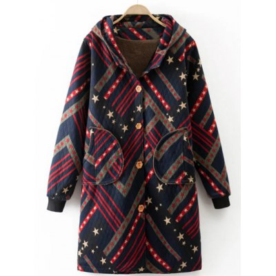 Star Print Striped Long Coat