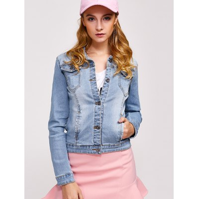 Double Button Pockets Denim Jacket