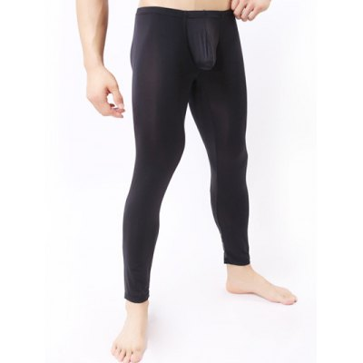 Breathable Ultrathin U Convex Pouch Long PantsMens Underwear &amp; Pajamas<br>Breathable Ultrathin U Convex Pouch Long Pants<br><br>Material: Cotton,Faux Leather,Polyester<br>Pattern Type: Solid<br>Weight: 0.128kg<br>Package Contents: 1 x Pants