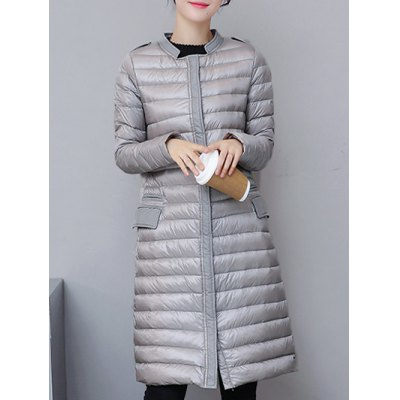 Fitted Pocket Long Light Down  Coat
