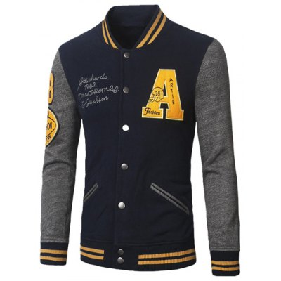 Stand Collar A Pattern Rib Spliced Baseball Jacket