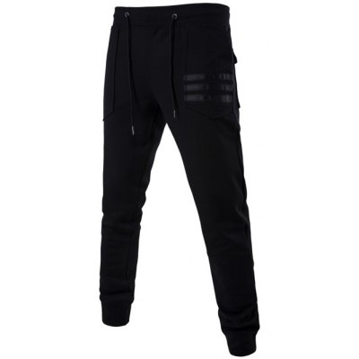 Patch Pocket Mid Rise Drawstring Jogger Pants