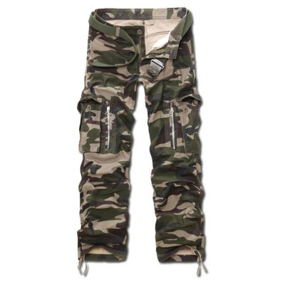 Camo Zippered Cargo Pants