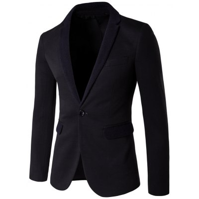 Knitting Lapel One-Button Blazer