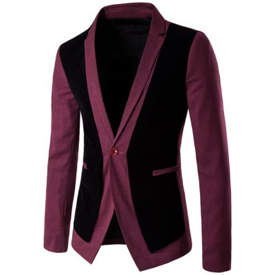Velvet Splicing Design One Button Blazer