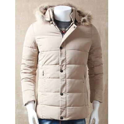 Zipper Button Padded Jacket with Dismountable Hood