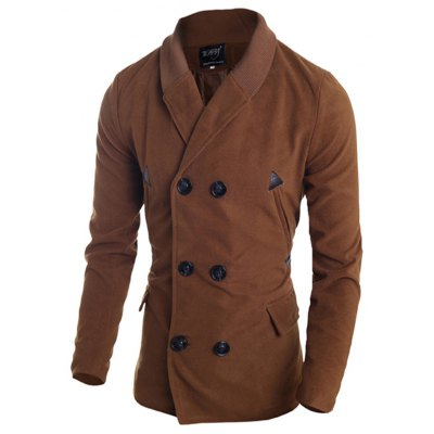 Ribbed Shawl Collar Double Breasted Jacket