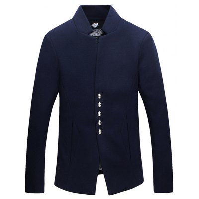 Stand Collar Single-Breasted Woolen Jacket