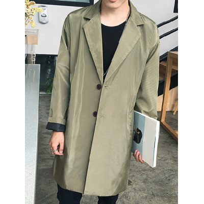 Turn-Down Collar Single-Breasted Lengthen Coat