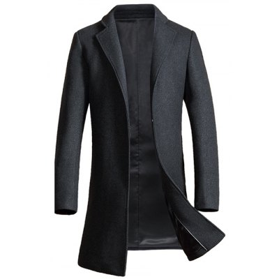 Lapel Pocket Design Woolen Blend Coat