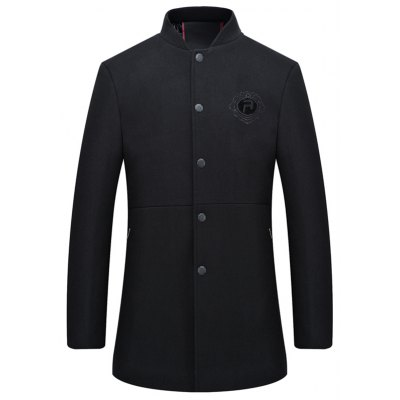 Badge Woolen Blend Stand Collar Coat