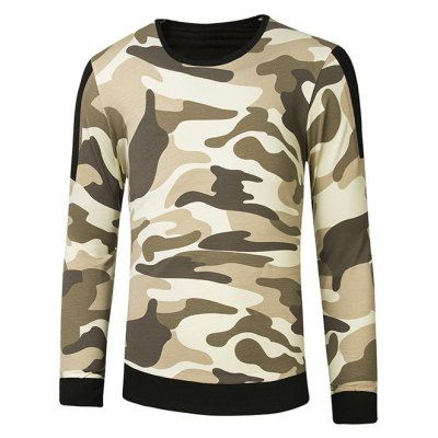 Crew Neck Camouflage Side Zipper Long Sleeve Sweatshirt