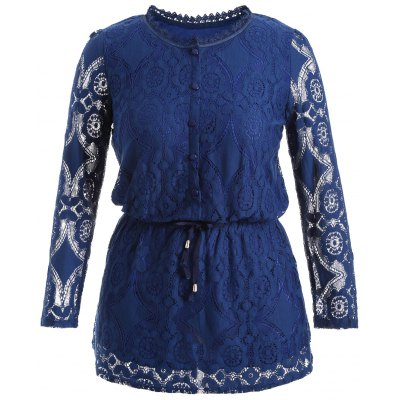 Hollow Out Drawstring Lace Blouse