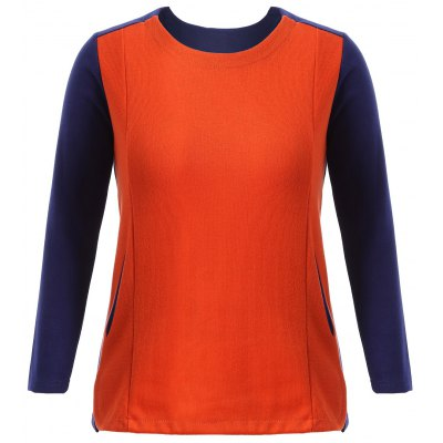 Color Block Plus Size Knitting T-Shirt