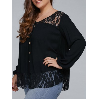 Plus Size Lace Trim Single Breasted Blouse