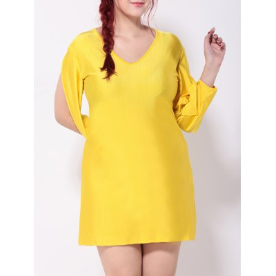 V Neck Cut Out Split Sleeves Shift Dress