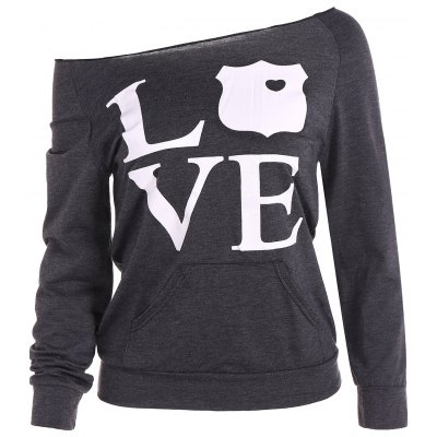 Skew Neck Love Print Sweatshirt
