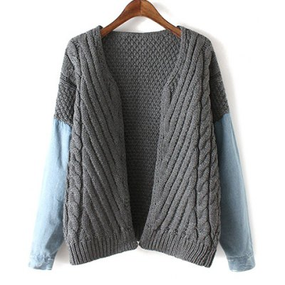 Denim Panel Cable Knit Cardigan