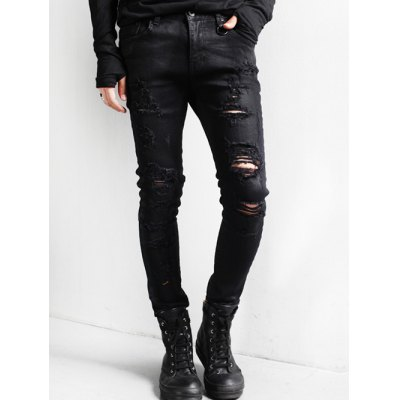 Holes and Cat's Whisker Design Jeans
