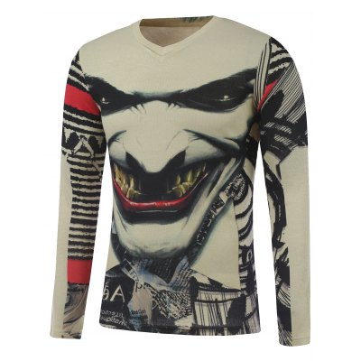 Plus Size Long Sleeve Fierce Figure Face Print T-Shirt