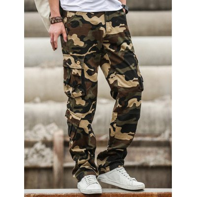 Multi Pockets Design Straight Camouflage Cargo Pants