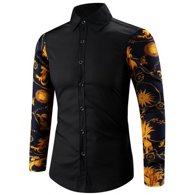 Turn-Down Collar 3D Abstract Floral Print Spliced Shirt