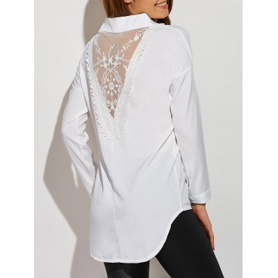 Lace Insert Asymmetrical Blouse