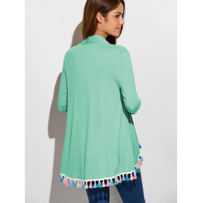 Fringes Collarless CardiganSweaters &amp; Cardigans<br>Fringes Collarless Cardigan<br><br>Type: Cardigans<br>Material: Polyester<br>Sleeve Length: Full<br>Collar: Collarless<br>Style: Casual<br>Pattern Type: Solid<br>Season: Fall<br>Weight: 0.255kg<br>Package Contents: 1 x Cardigan