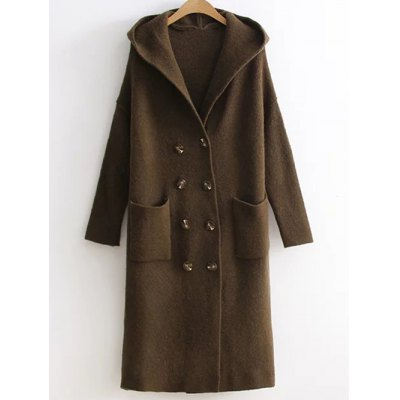 Longline Double Breasted Sweater Coat