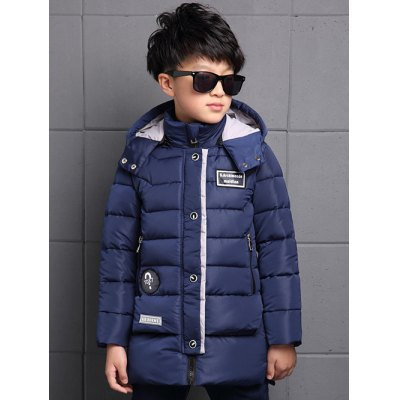 Snap Button Hooded Patch Coat