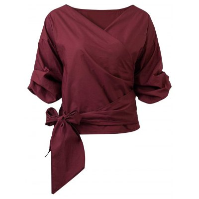 Belted Puffed Sleeve Crossover Blouse