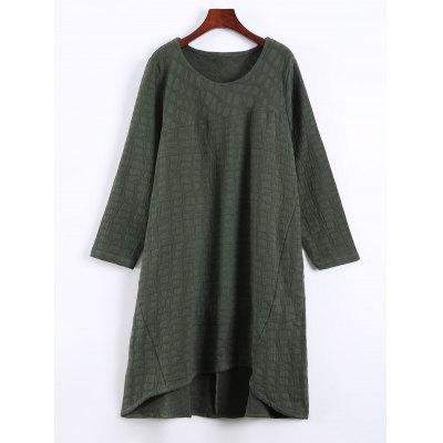 Plus Size Textured Long Sleeve High Low Dress