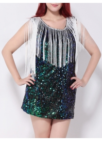 Sequined Fringed Cut Out Mini Party Dress
