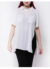 Plus Size Side Slit Chiffon Blouse